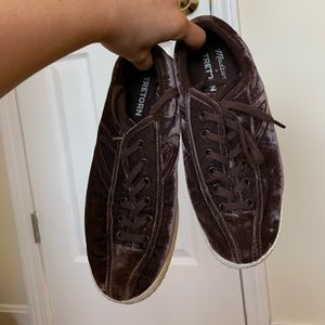 Burgundy/ Brown velvet MadewellxTretorn sneakers
